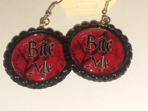 Boutique Bottle Cap Earrings Huge Variety Art Bite Me E172