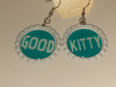Boutique Bottle Cap Earrings Huge Variety Art Good Kitten E175