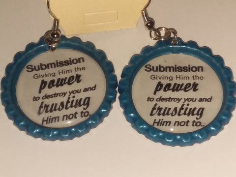 Boutique Bottle Cap Earrings Huge Variety Art Submission Giving him the power E179