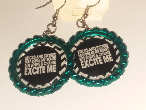 Boutique Bottle Cap Earrings Huge Variety Art Whips & Chains Excite me E182