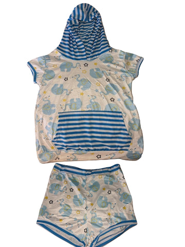 Elephant 2pc Shirt with hood & Matching Shorts Outfits