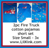 DISCONTINUED Fire Truck Cotton 2pc pajamas short SET Style #2 Clearance