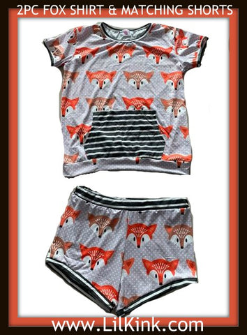 Adult Fox 2pc Shirt & Matching Shorts Outfits