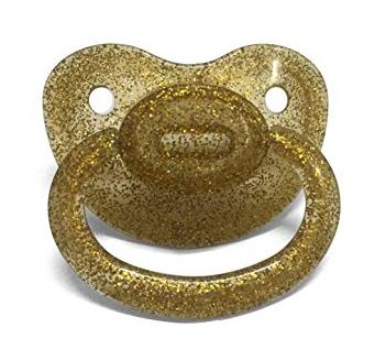 Clear Gold Sparkle New Large Sparkle Color Adult Pacifier