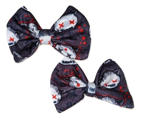 Goth Kitty Matching Boutique Fabric Hair Bow 2pc Set
