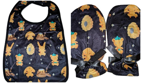 Hunny Bunny Black Matching 2pc Bib Mittens Set Designed by cyan.red
