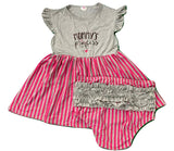 Mommy's Princess Grey & Pink Ruffles Matching Bloomers Short