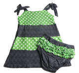DISCONTINUED Halloween Spider Black & Green Dots Matching Shorts Bloomers Clearance