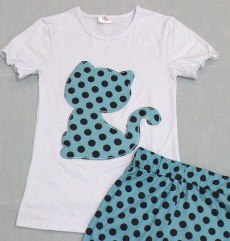 DISCONTINUED Kitty Cat Polka Dots Top Shirt Clearance