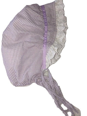 Seersucker Adult Baby Bonnets Light Purple/White
