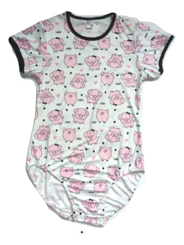 DISCONTINUED Short Sleeve Lil Piggy Onesie Clearance xxs - xs - 3x only