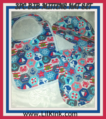 Nautical sailboat theme Matching 3pc Bib Mittens Hat Set Set100 CLEARANCE