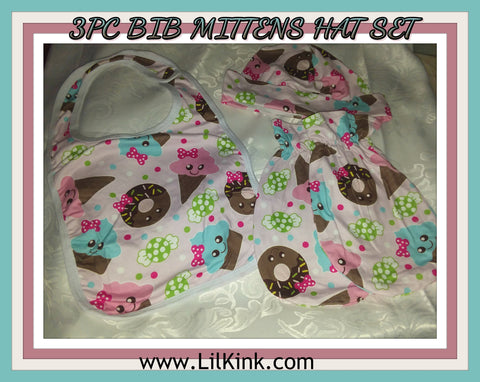 Lil' Sweets Matching 3pc Bib Mittens Hat Set Set106