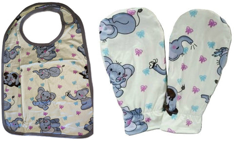 Ellie the Elephant Matching 2pc Bib Mittens Set DESIGNED BY @CYAN.RED
