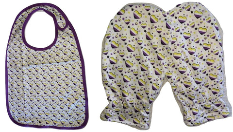 Non Binary Hearts Matching 2pc Bib Mittens Set Designed by @QueenPinPrincess