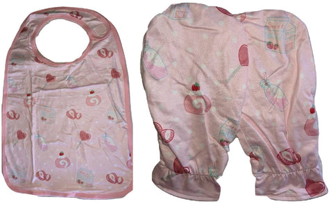 LIL STRAWBERRY SWEETIES Pink Matching 2pc Bib Mittens Set designed by oddfoxshop