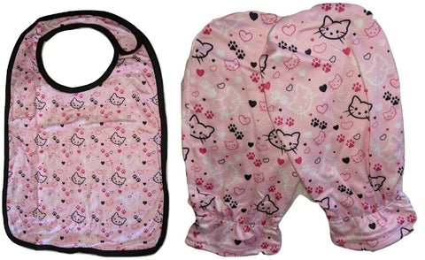 Pretty Kitty Matching 2pc Bib Mittens Set Designed by @QueenPinPrincess