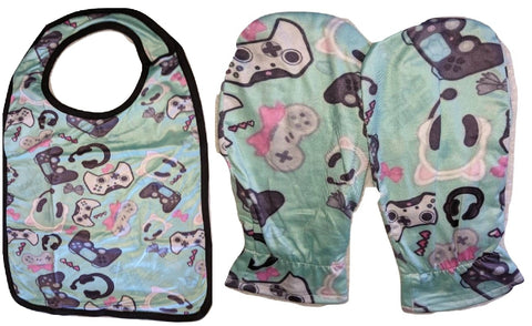 VIDEO GAME Matching 2pc Bib Mittens Set Designed by @Beeandbatwingz