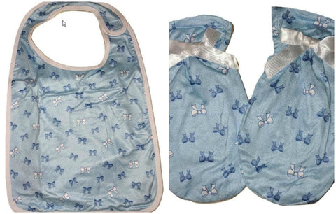 Lil Pretty Bows Matching 2pc Bib Mittens Set