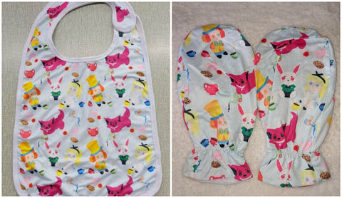 LIL TEA PARTY MATCHING 2pc Bib Mittens Set DESIGNED BY CYAN.RED