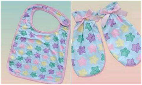 Lucky Stars Adult  Matching 2pc Bib Mittens Set Designed by kouhai kitten