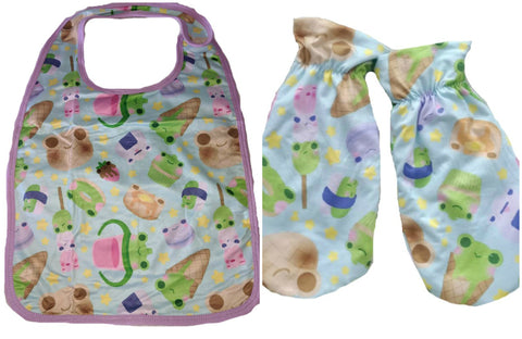 Froggie Treats Adult  Matching 2pc Bib Mittens Set DESIGNED BY KEROKEROKOUHAI