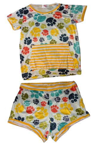 Puppy Paws 2pc Shirt & Matching Shorts Outfits