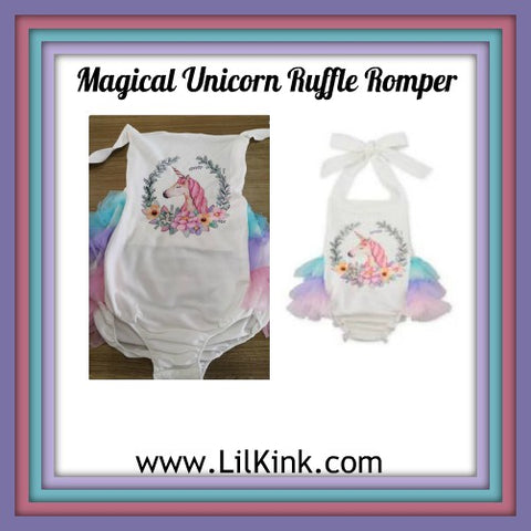 Magical Unicorn Ruffle Romper