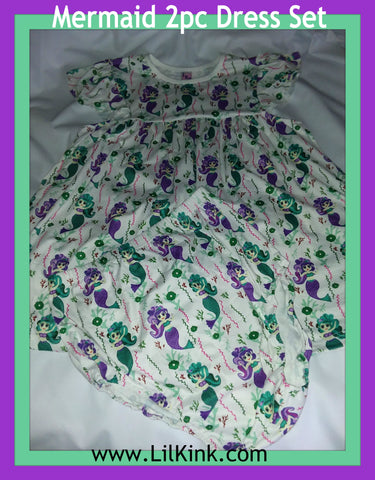Set DISCONTINUED Mermaids 2pc Dress & Matching Bloomers Outfits Clearance