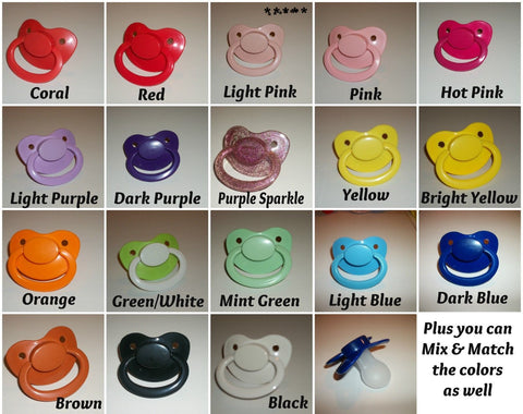 New Large Plain Mix-n-Match Color Adult Pacifier