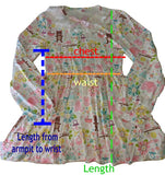 Vintage Style Long Sleeve Enchanted Forest of Fairies Night Gown Pajamas