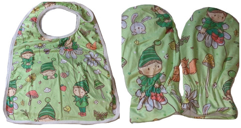 Tiny Gnomes Matching 2pc Bib Mittens Set