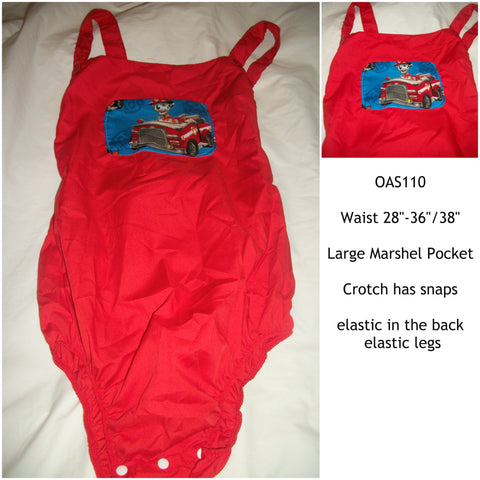 "Cartoon Dog Adult Red Romper  OAS110 Size 28""-36""/38"" Waist"