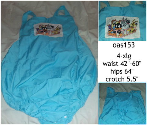 Cartoon L T's Adult Romper in Blue size 4X OAS153