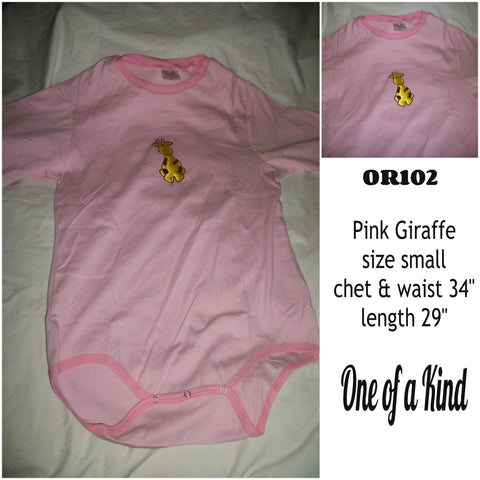 OR102 Adult Onesie PINK GIRAFFE SZ SMALL