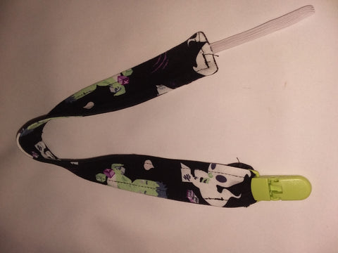 "Tiny Terrors Black Matching Fabric Pacifier Clips - 17"" pc1861"