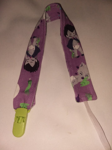 "Tiny Terrors Purple Matching Fabric Pacifier Clips - 17"" pc1862"