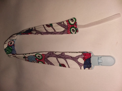 "Pacifier Clip Discontinued LIL OWLS Matching Fabric Pacifier Clips - 17"" pc1866 Clearance"