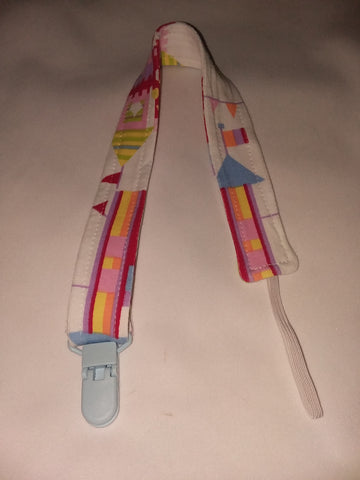"Pacifier Clip Discontinued RAINBOW CASTLE Matching Fabric Pacifier Clips - 17"" pc1867 Clearance"