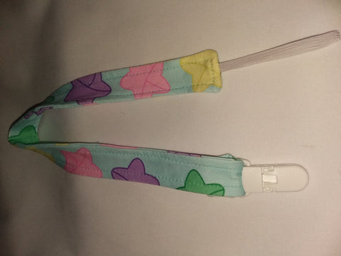 "LUCKY STARS Matching Fabric Pacifier Clips - 17"" pc1887 DESIGNED BY KEROKEROKOUHAI"