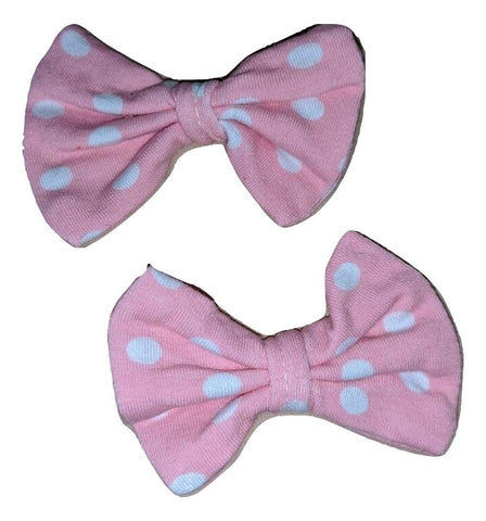 Pink Dots Matching Boutique Fabric Hair Bow 2pc Set