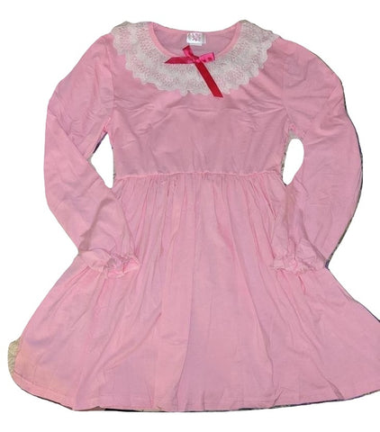 Vintage Style Long Sleeve Pink Night Gown Pajamas