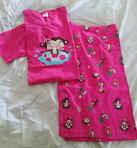 Pajamas Set DISCONTINUED Monkey Cotton 2pc pajamas short SET Clearance xs s only