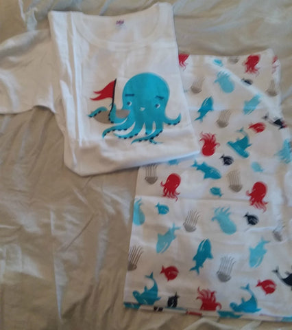 DISCONTINUED Octopus Ocean Cotton 2pc pajamas short SET Clearance xs & S only