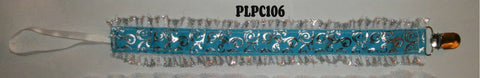 Blue & Silver Lace DELUXE CUSTOM PACIFIERS CLIPS PLPC106