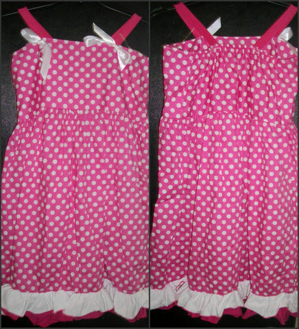 Dress DISCONTINUED Adult Size Pink & White Polka dot Jumper Style Dress Clearance