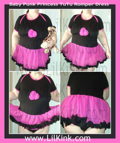 DISCONTINUED Baby Punk Princess Hot Pink & Black Adult Tutu Romper Dress Clearance