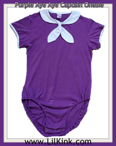 Aye Aye Captain Onesie Purple * NEW SIZE CHART