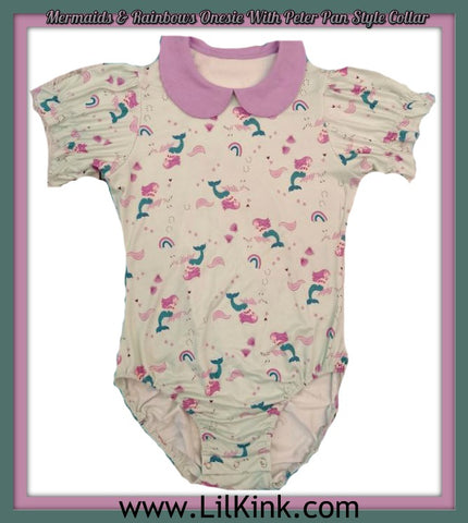 COLLAR Mermaid & Rainbows WITH PETER PAN STYLE COLLAR ONESIE * New Size Chart
