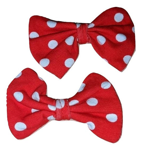 Red Dots Matching Boutique Fabric Hair Bow 2pc Set Clearance